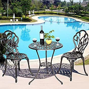 Giantex 3 Piece Bistro Set Cast Tulip Design Antique Outdoor Patio  Furniture Weather Resistant Garden Round