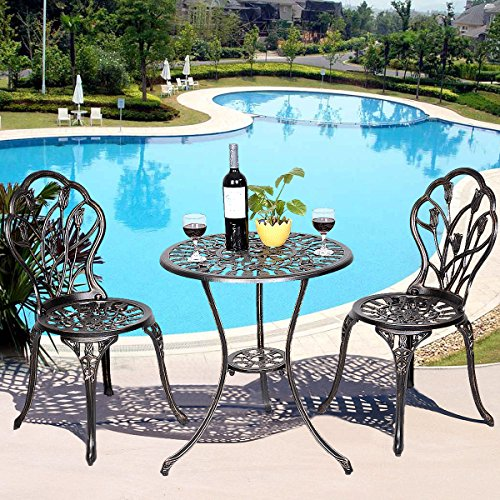 Giantex 3 Piece Bistro Set Cast Tulip Design Antique Outdoor Patio Furniture Weather Resistant Garden Round Table and Chairs w/ Umbrella Hole (Tulip Design) - Antique Patio Set