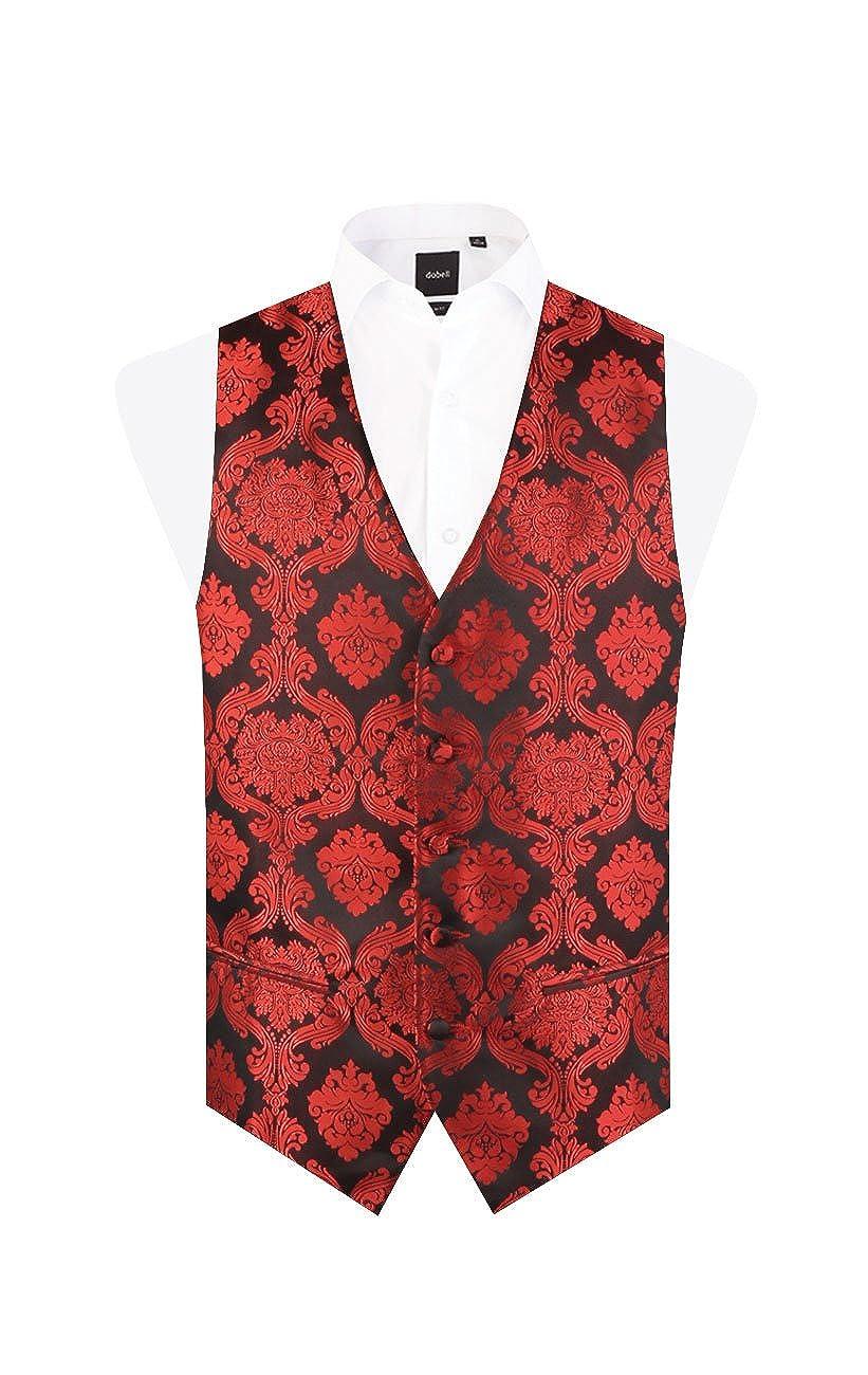 Dobell Mens Red Waistcoat Regular Fit 5 Button Victorian Jacquard Pattern Wedding Vest