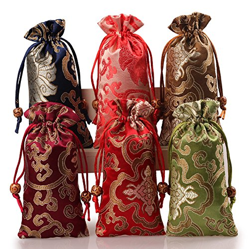 (2500 Silk Brocade Double Layer Glasses Pouch Jewelry Travel Drawstring Coin Purse Gift Bag 3.1