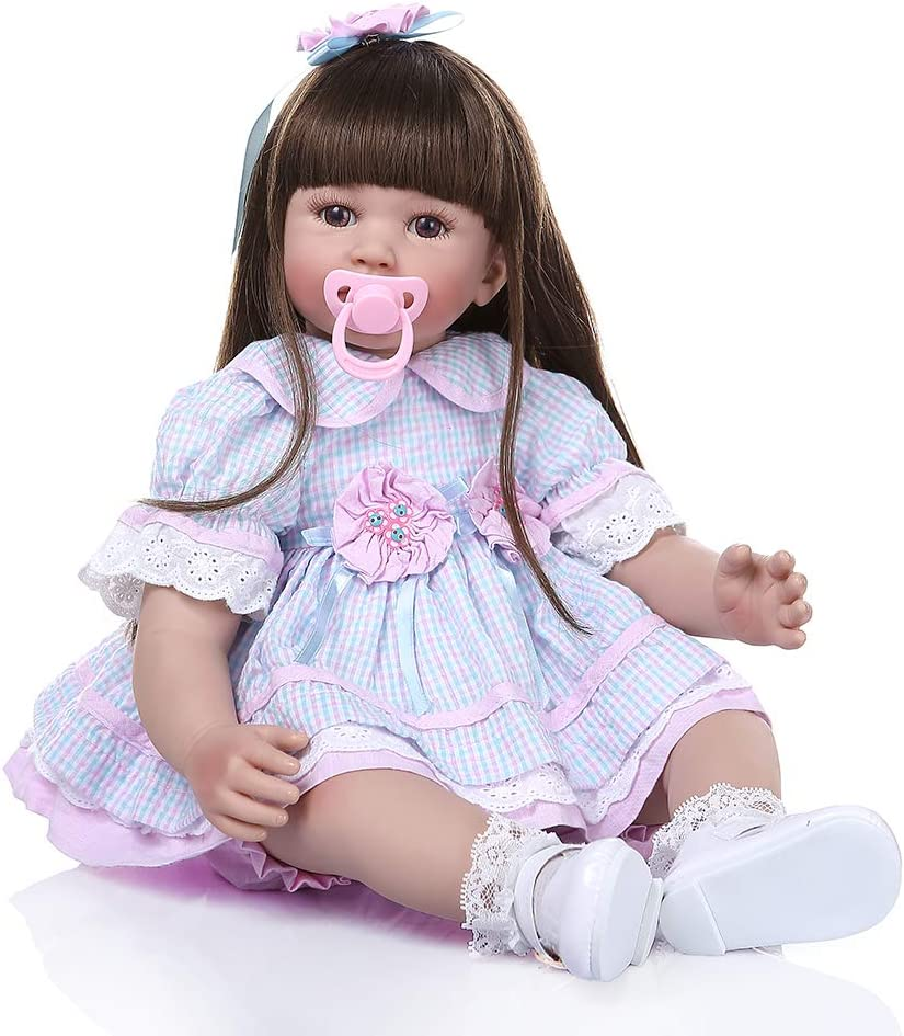Angelbaby 60CM 24 inch So Cute Silicone Toddler Dolls Pretty Reborn Baby Girl Dolls That Look Real Long Hair Little Princess Child with Fashion Clothes and Magnetic Pacifier Gifts Set for Kid Playmate