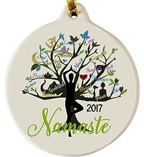 Amazoncom 2017 Dated Namaste Yoga Golden Blessing Porcelain