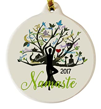 Amazon.com: Yoga Tree Namaste 2017 Porcelain Gift Ornament Faith ...