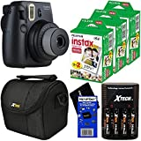 Fujifilm Instax Mini 8 Instant Film Camera (Black) + Fujifilm Instax Mini Instant Film (60 sheets) + 4 AA High Capacity Rechargeable Batteries with Battery Charger + Well Padded Camera Case + HeroFiber Ultra Gentle Cleaning Cloth