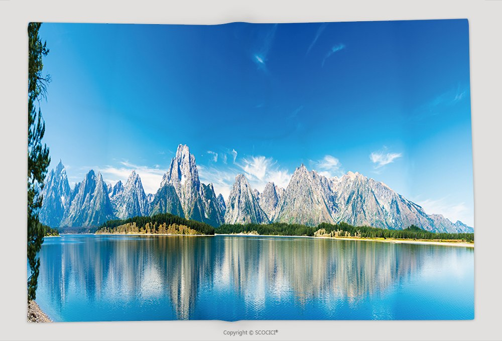 Supersoft Fleece Throw Blanket Grand Teton National Park Wyoming Panorama Showing Reflection Of Mountains On Jackson Lake Near 396491449 by vanfan