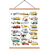 Natural Wood Magnetic Hanger Frame Poster- English Alphabet Canvas Wall Art Print Cartoon Traffic Tools Painting 28X45cm…