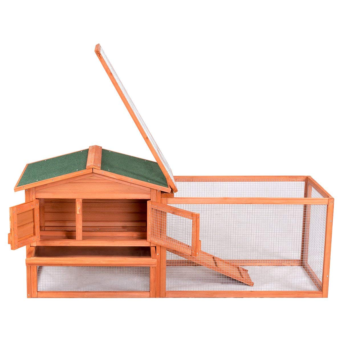 Tangkula Chicken Coop Outdoor Wooden Chicken Coop Garden Backyard Farm Bunny Hen House Rabbit Hutch Small Animal Cage Pet Supplies for Chicken, Duck, Rabbit, etc (61.5'' x 20.5'' x 27''(L x W x H)) by Tangkula (Image #7)