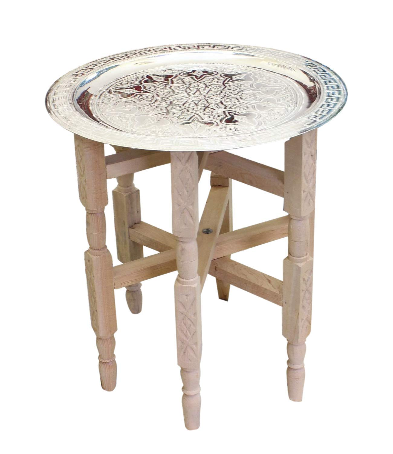 ESSENCE OF MOROCCO Moroccan Tray Side Table Small in Silver Maillechort with Cedar Wood Legs Handmade Hand Engraved 40 cm diameter (Ref TST1) Essence of Morocco Ltd.