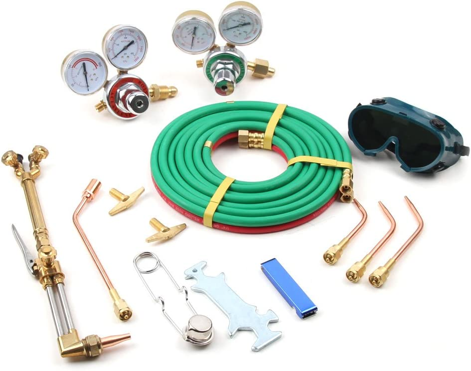Professional Tool Set,Black Portable Oxy Acetylene Oxygen Brazing Professional Welding /& Cutting Kit,Gas Welding Cutting Torch Kit Blue
