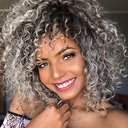 Afro Curly Hair Black Gray Wigs with Bangs Mixed Color Shoulder Length Hair Short Synthetic Kinky Curly Wigs for Black Women Shoulder Length Heat Resistant Fiber Wig
