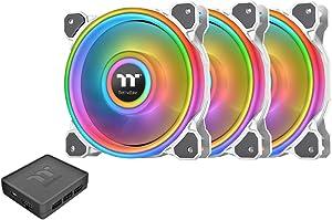 Thermaltake Riing Quad 120mm 16.8 Million RGB Color (Alexa, Razer Chroma) Software Enabled 4 Light Rings 54 Addressable LED 9 Blades Hydraulic Bearing White Case/Radiator Fan, 3 Pack, CL-F100-PL12SW-B