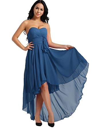 22c0231dba0a iiniim Women's Chiffon Sweetheart Strapless High-Low Pleated Bridesmaid  Dress Party Evening Prom Gown Teal