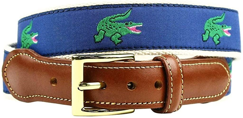 Chubbs Nemesis Alligator Leather Tab Belt in Blue by Country Club Prep