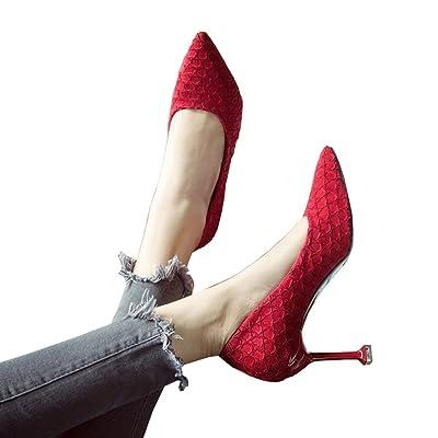 8cm printemps rouge bouche peu profonde chaussures moelleuses, talons fins, chaussures de travail professionnel ( Couleur : Red8cm , taille : 36 )
