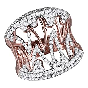 10K Rose Gold Womens Genuine Diamond Fashion Cocktail Ring 1 CT