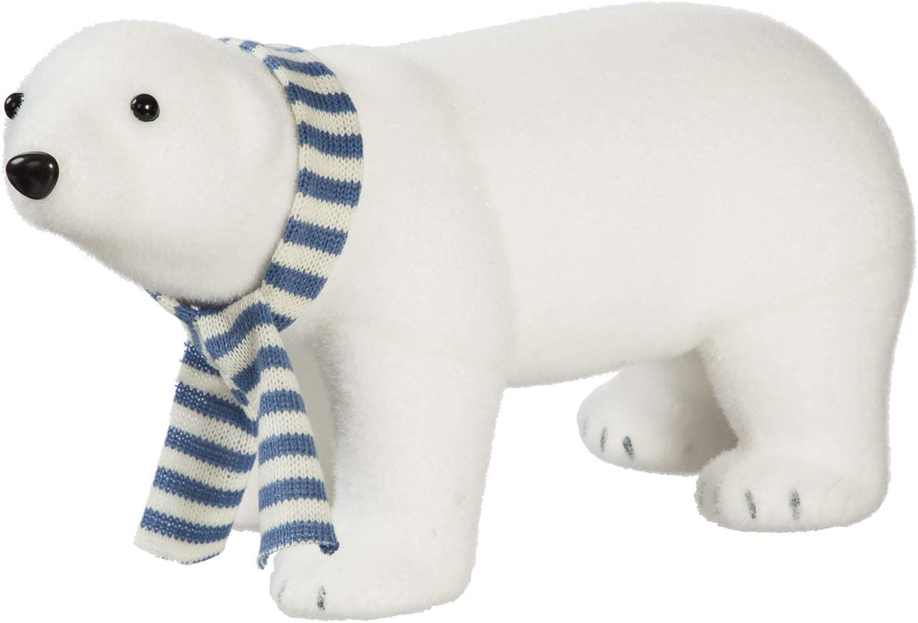 Cypress Home Beautiful Christmas Plush Polar Bear with Scarf Table Top Décor - 14 x 7 x 7 Inches Indoor/Outdoor Decoration for Homes, Yards and Gardens