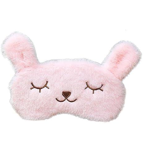 Leisial Antifaces para Dormir Eyeshade Cartoon Lindo Gafas de Conejo de Felpa Máscara de Sueño para