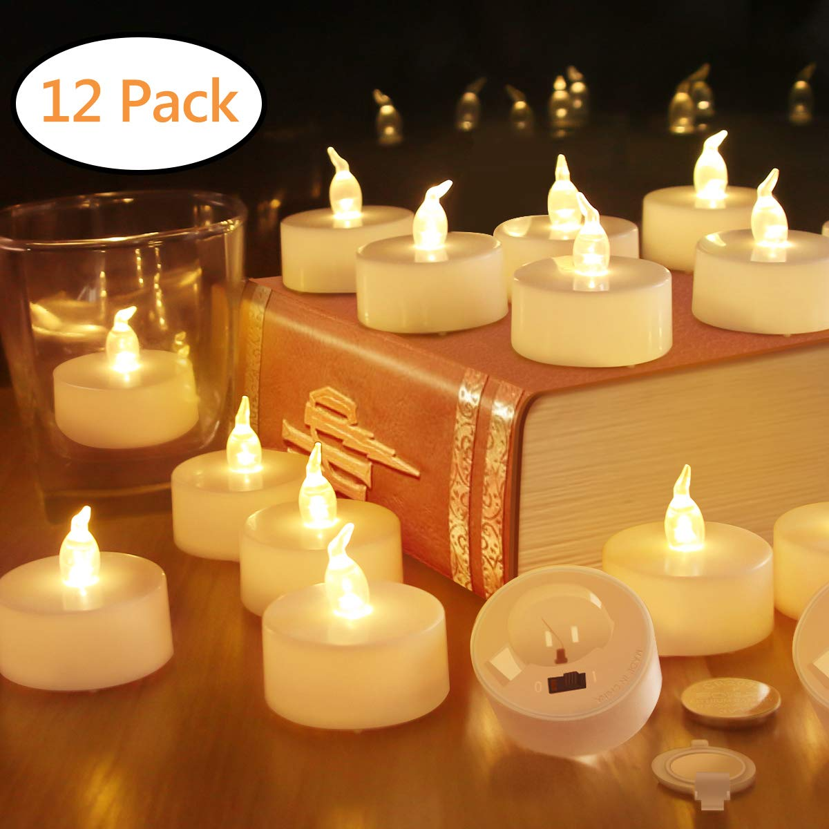 Tea Lights Flameless Candles Votive Candle LED TeaLight Fake Candles Battery Operated Tea Light Unscented Realistic Tealight 200 Hours Warm Yellow Flame Christmas Decorations 12 Packs