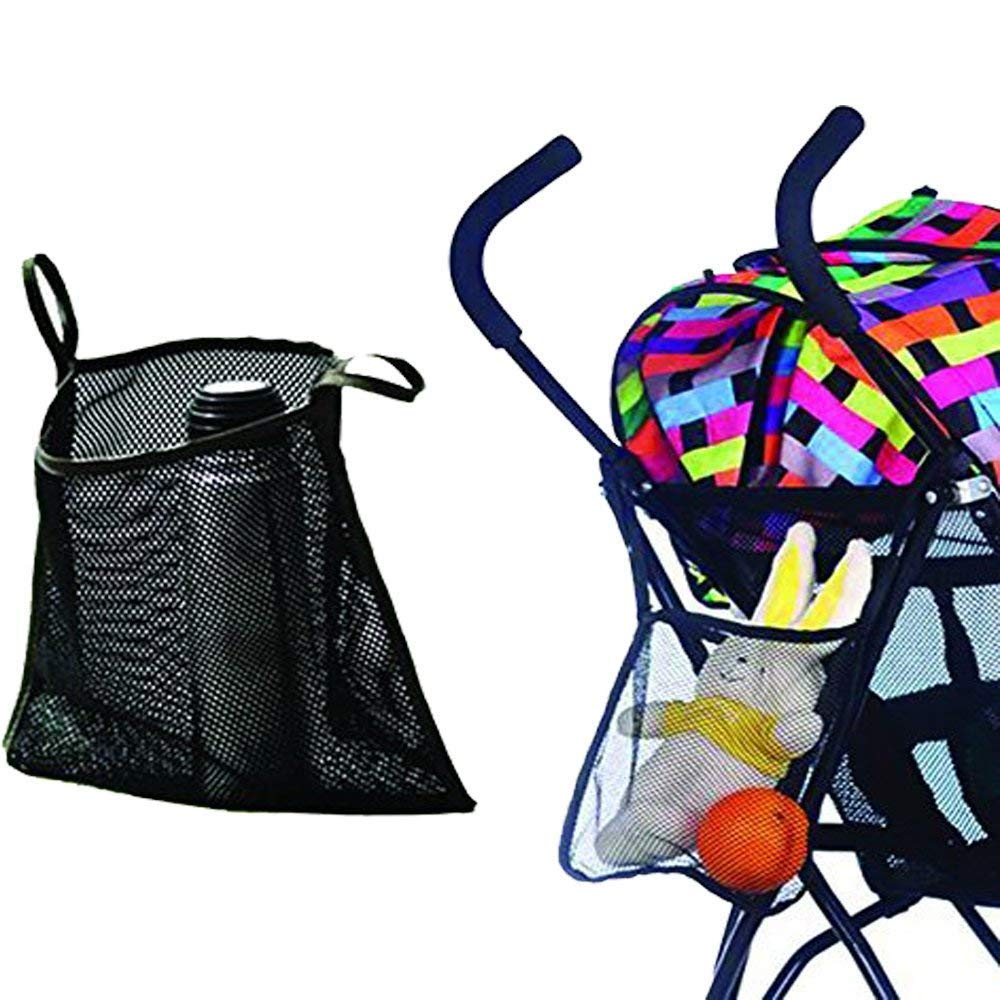 Charis Kid Mesh Stroller Bag Stroller Attachable Organizer Carrying Bag 2 Pack Black with Blue Edge Umbrella Baby Stroller Accessories