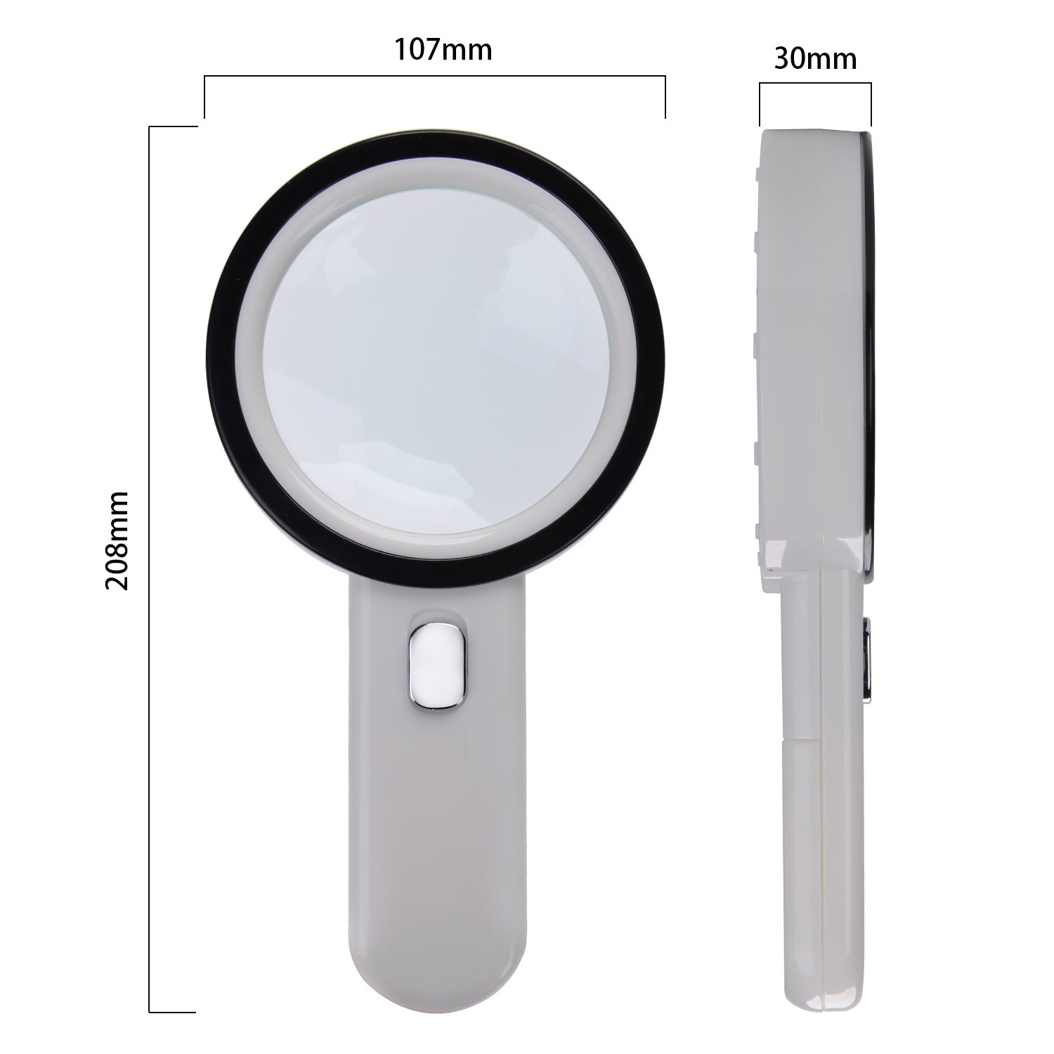 XYK Extra Large Handheld Magnifying Glass with Light White White Best Illuminated Magnifier for Reading,Macular Degeneration,Inspection,Exploring,Hobbies