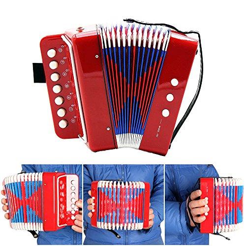 Andoer Kids Children 7-Key 2 Bass Mini Small Accordion Educational Musical Instrument Rhythm Band Toy -