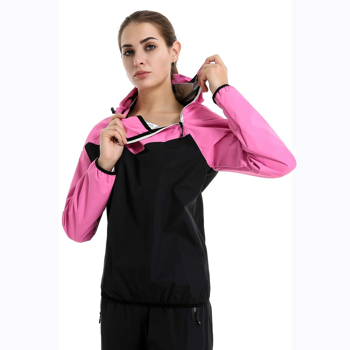 Lazysuit Sauna Suit Women Fitness Weight Loss Clothes (Pink, Small)