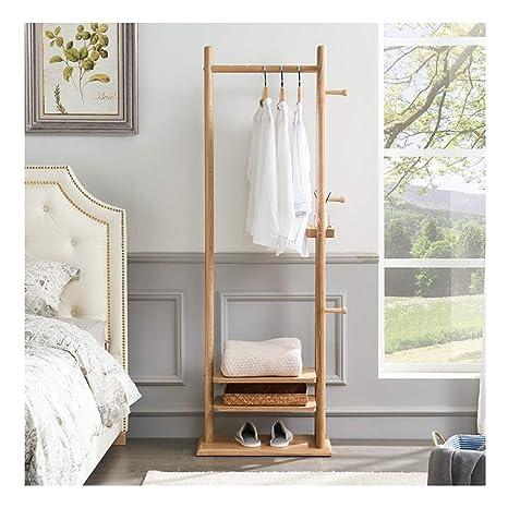 Amazon.com: QPSGB Solid Wood Coat Rack, Clothes Rail Floor ...