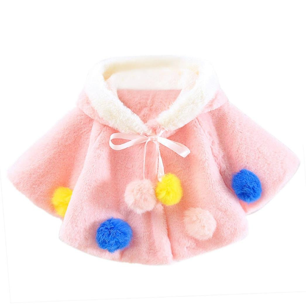 Coper Little Princess Girl Warm Floral Graffiti Waistcoat With Hairball Coat (24 Month, Pink)