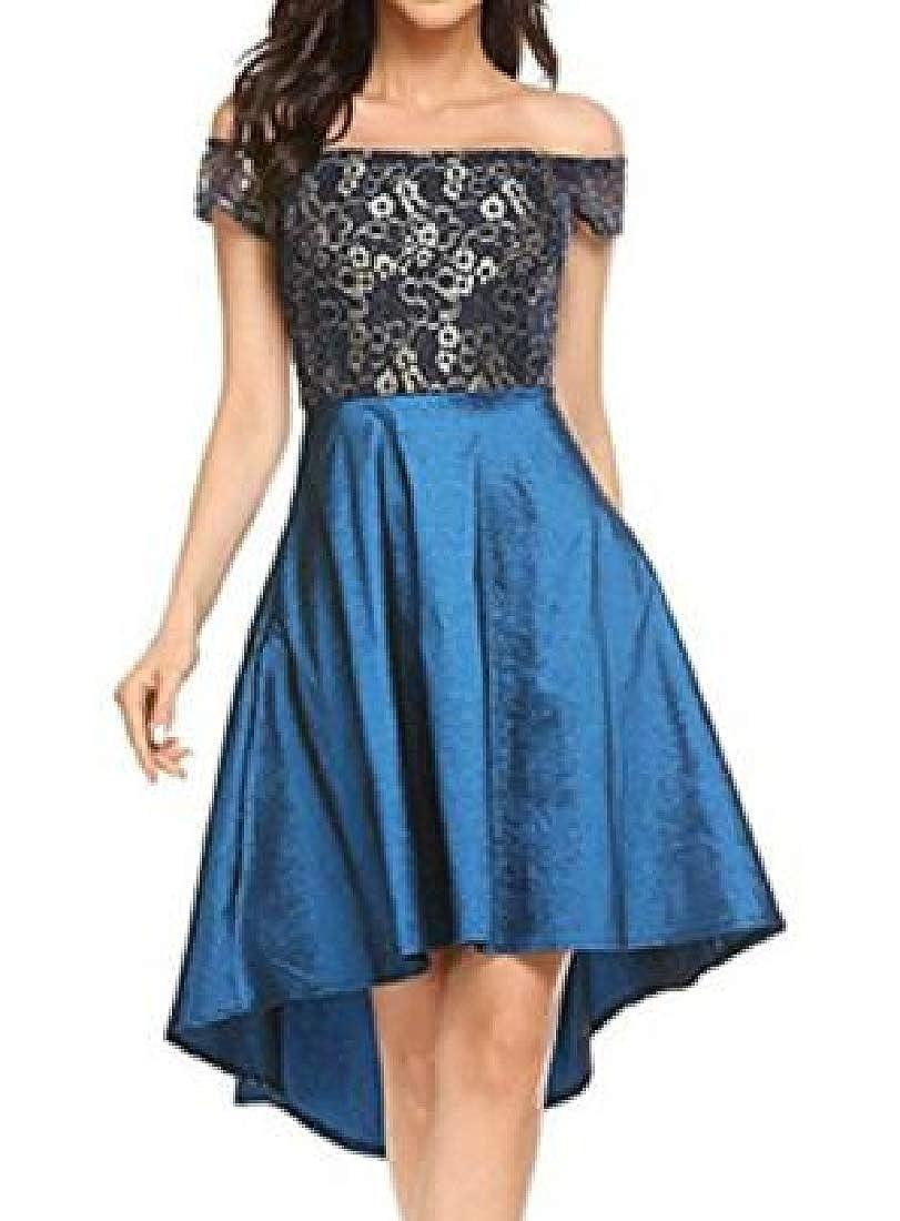 Rrive Women Lace Bridesmaid Vintage Irregular Hem Big Hem Dress