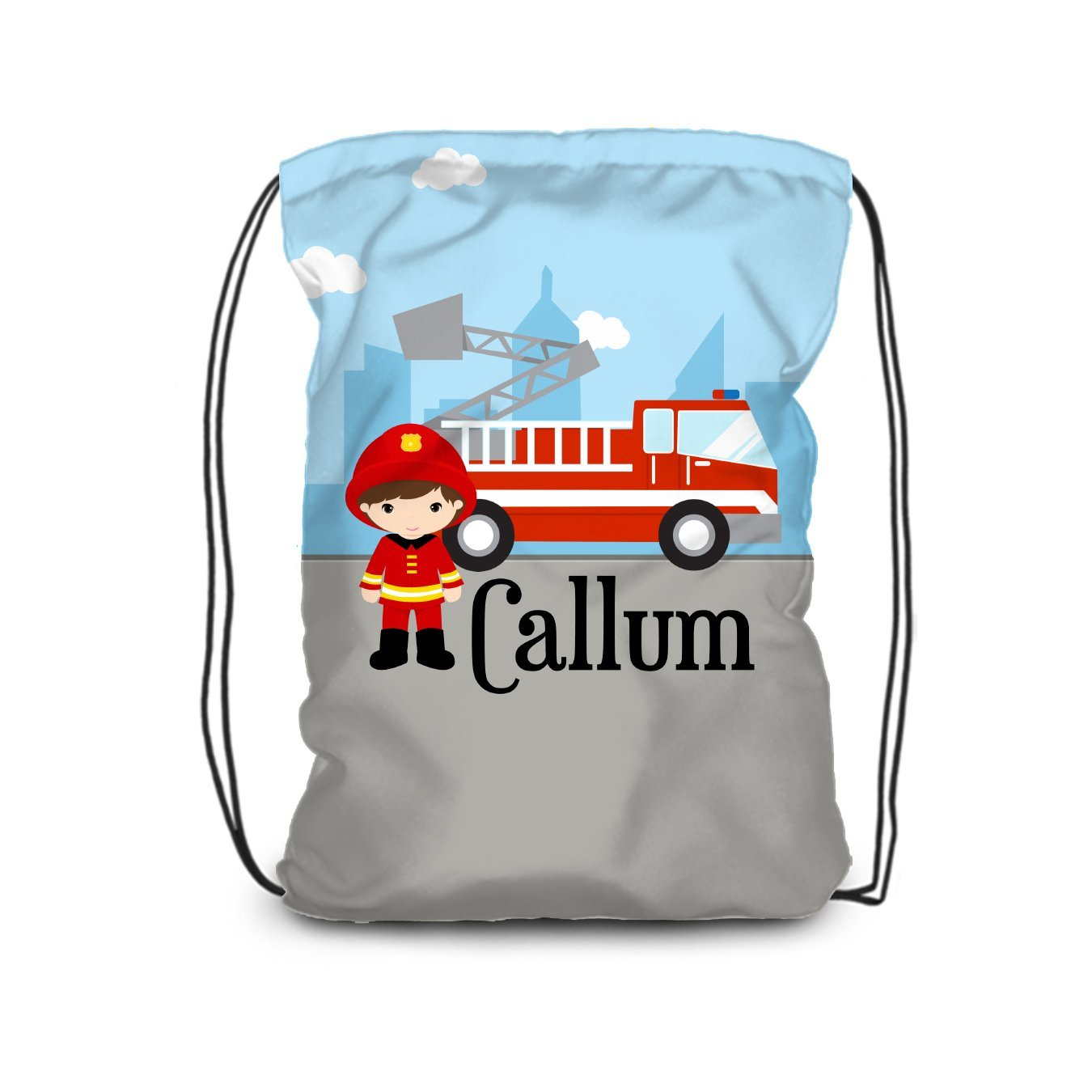 Fire Truck Drawstring Backpack - Big City Firefighter Bag