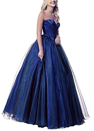 Plus Size Prom Dresses 2018 Sweetheart Lace-Up Back Navy Blue US20 Size