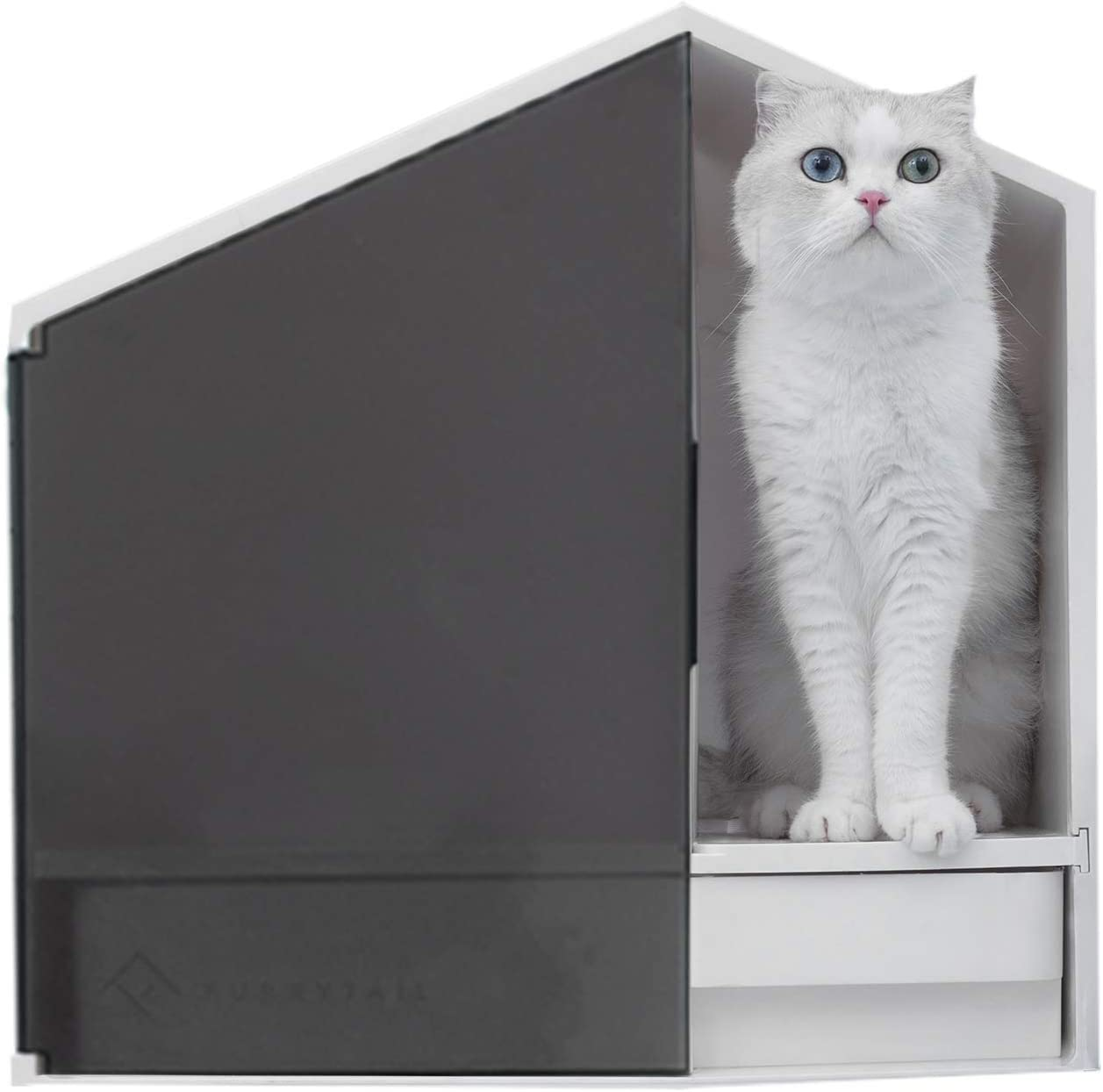 Furrytail Glow House Cat Litter Box with Scoop, Low Entry Modern Cat Litter Box Furniture Enclosure, Prevent Litter Scatter Contain Spraying Cat Privacy Extra Storage Design