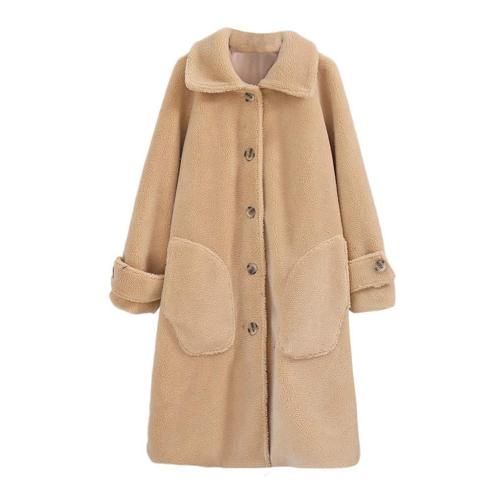 Women's Autumn and Winter Warm Loose Medium Long Windbreaker Lamb Button Pocket Coat Beige by Han1dsome coat