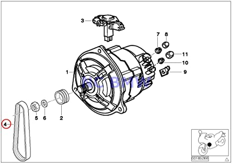 bmw genuine motorcycle ribbed v belt 4pk592 r1100s r1200gs hp2 enduro hp2 megamoto r1200r r1200st r1200s r1150gs r1150 BMW Schematic Diagram