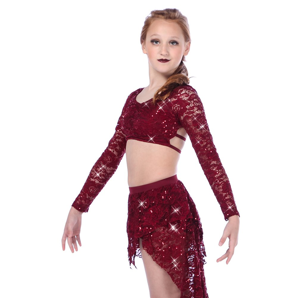 Alexandra Collection Juliette Youth Sequin Long Sleeve Dance Performance Strappy Bra Top Burgundy 6X-7 by Alexandra Collection