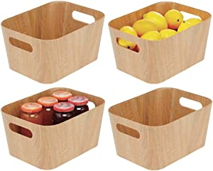 mDesign Food Storage Container Bin with Handles - for Kitchen, Pantry, Cabinet, Fridge/Freezer - Narrow for Snacks, Produce, Vegetables, Pasta - Food Safe - 4 Pack - Natural/Tan Wood Print