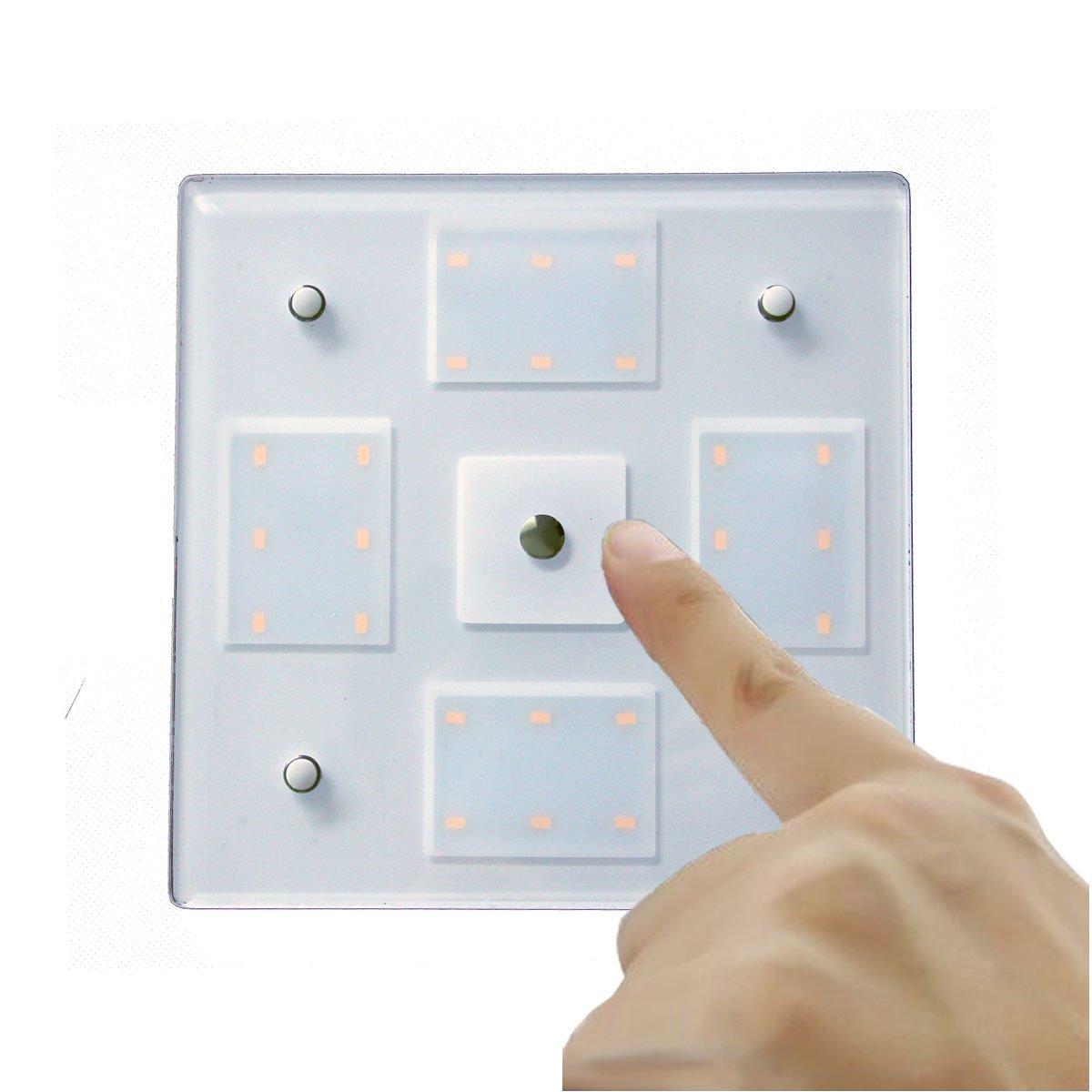 Blanco c/álido//Azul yate y Caravana 12 V 5.2 W Luz de Panel de Dos Colores luz de Techo LED de construcci/ón con Interruptor t/áctil y atenuador t/áctil para Barco LIGHTEU