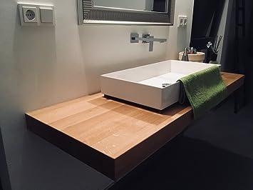 Massiv Holz Waschtisch  Konsole Platte Gäste WC Cämping Echtholz  Baumkante