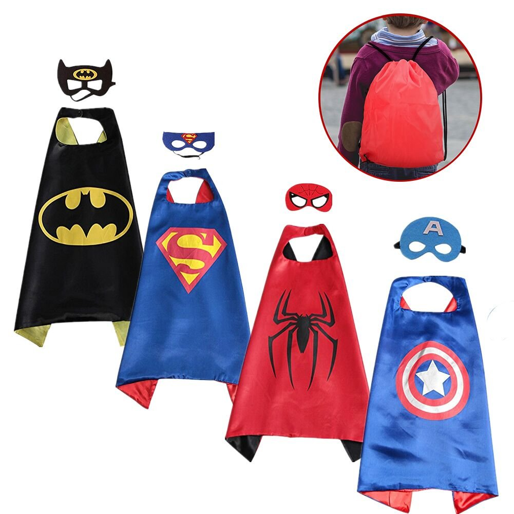 SPESS Superhero Capes Kids Dress Birthday Party Cartoon Costume Set Boys Girls 4 Set Marks Bags (Reversible)