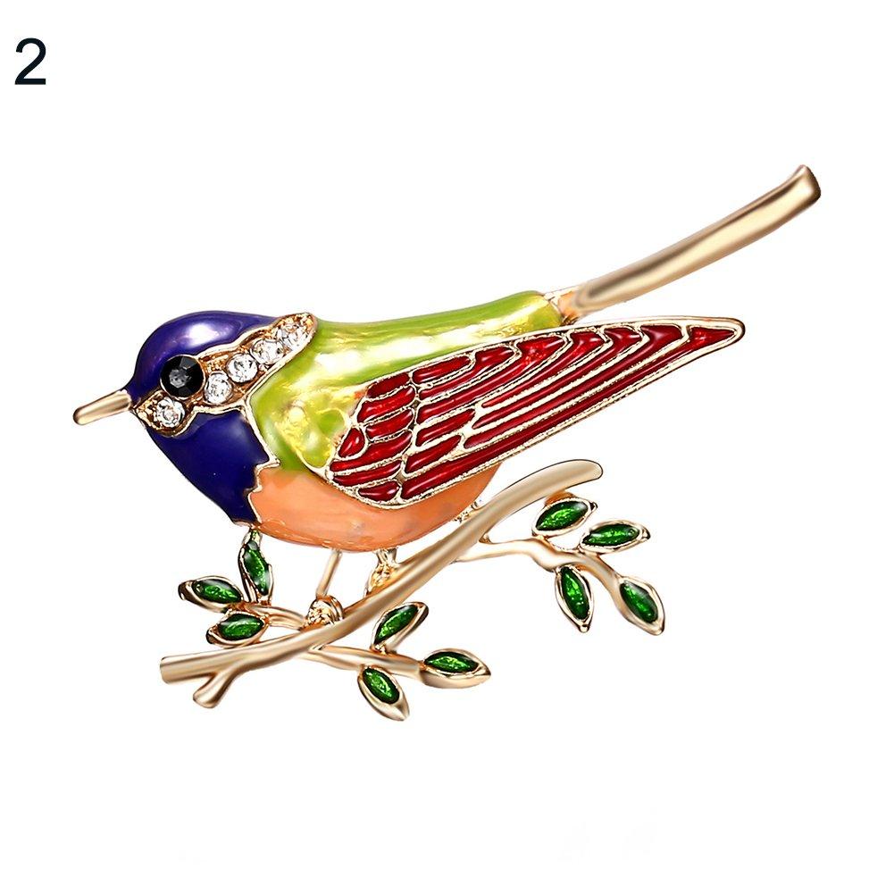 Finance Plan Bird Branch Rhinestones Brooch Pins Badge Suits Dress Decor Jewelry Gifts for Men Women