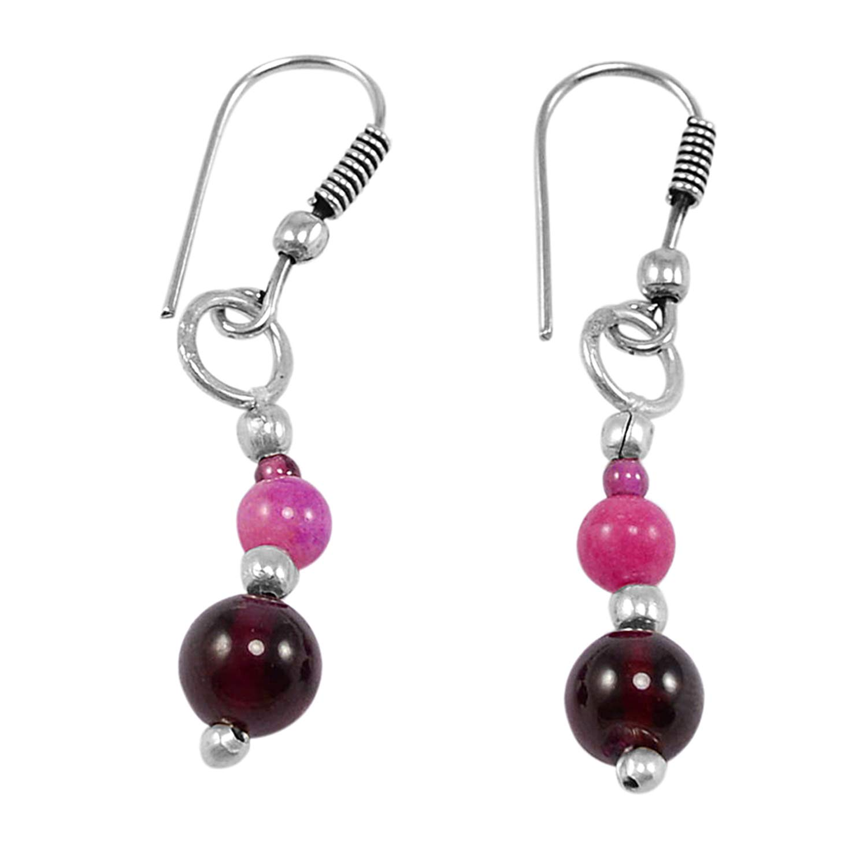 Silvestoo Jaipur Pink Jade /& Rhodolite Garnet Gemstone 925 Silver Plated Dangle Earring PG-130737