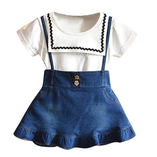 9194a981d Amazon.com: WUAI Baby Girls Birthday Princess Outfits Clothes Sets Short  Sleeve T-Shirt+Denim Skirt 2PCS Summer Clothes Set: Clothing