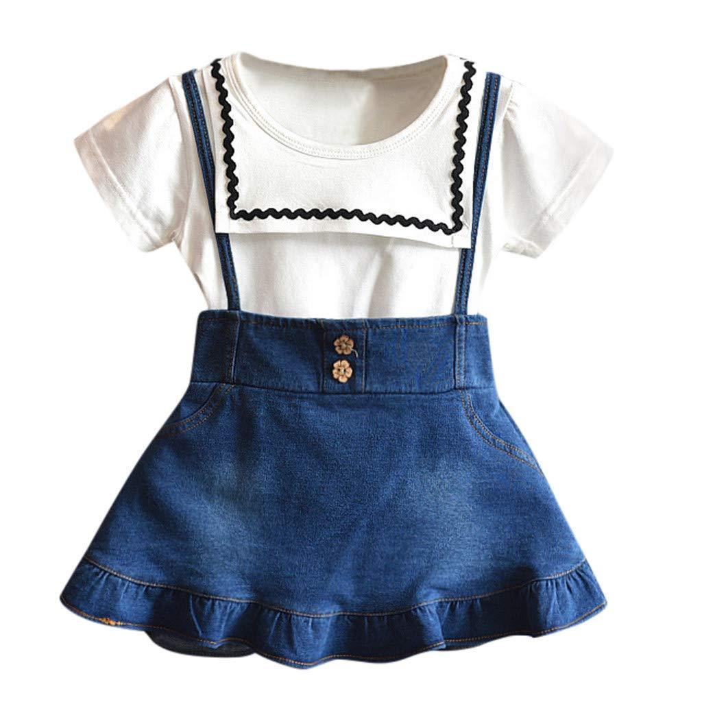 WUAI Baby Girls Birthday Princess Outfits Clothes Sets Short Sleeve T-Shirt+Denim Skirt 2PCS Summer Clothes Set(White,3-4 Years)
