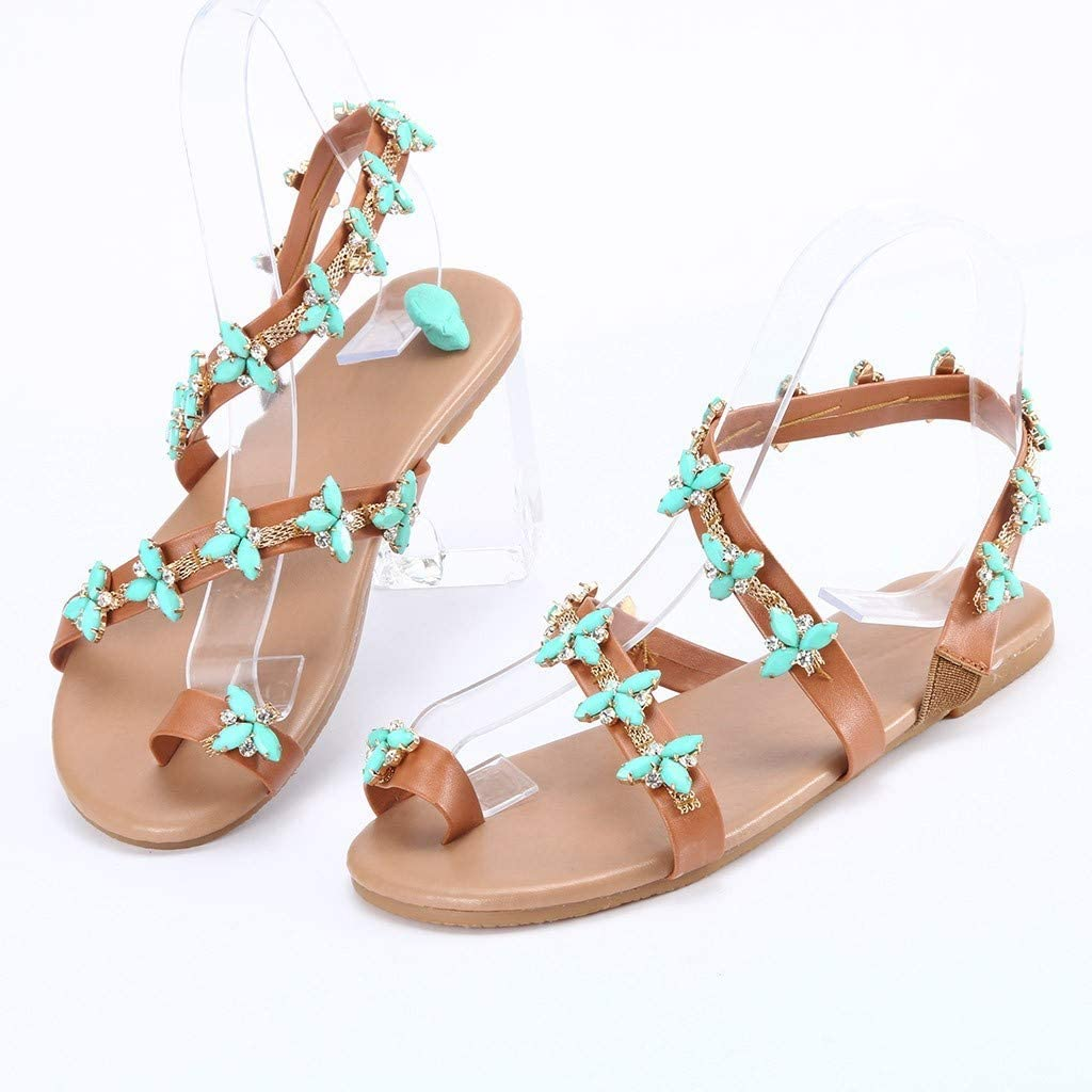 Eoeth Summer Womens Ladies Girls Fashion Studded Crystal Beach Casual Sandals Bohemia Style Lace-Up Flats Shoes