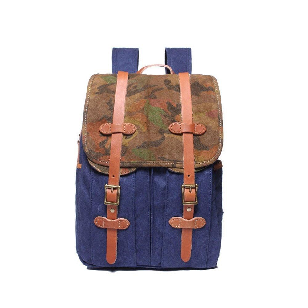Sunbobo Vintage Männer Frauen Rucksack Daypack Wasserdichte Reißverschluss Leinwand 15,6-Zoll-Laptop-Student Outdoor-Shopping