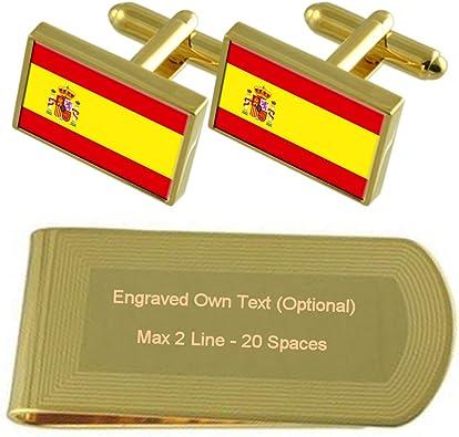 Select Gifts Bandera España Tono Oro Gemelos Money Clip Grabado ...