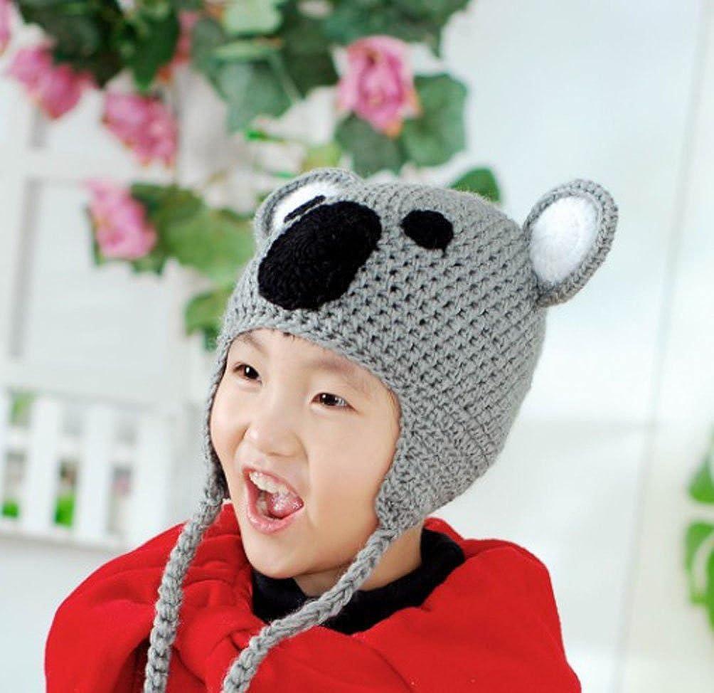 BIBITIME Handmade Knit Koala Hat Bear Ear Beanie Braid Earflap Warm Cap for Kids