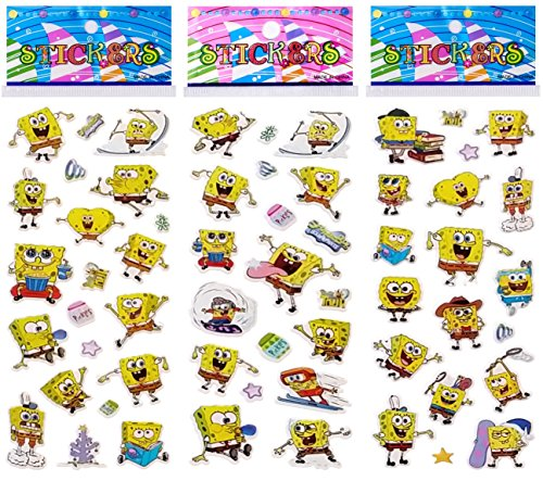 6 Sheets Puffy Dimensional Scrapbooking Party Favor Stickers + 18 FREE Scratch and Sniff Stickers - SPONGE BOB ()