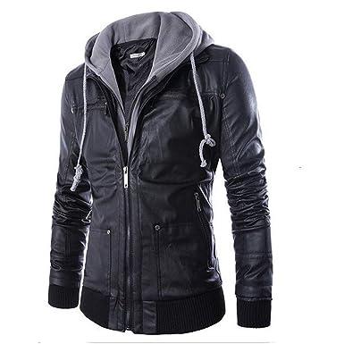5a09a95b5673ff Dragon868 Herren Winterjacke Leder Herbst & Winter Jacke Biker Motorrad  Reißverschluss Outwear Warmen Mantel: Amazon.de: Bekleidung