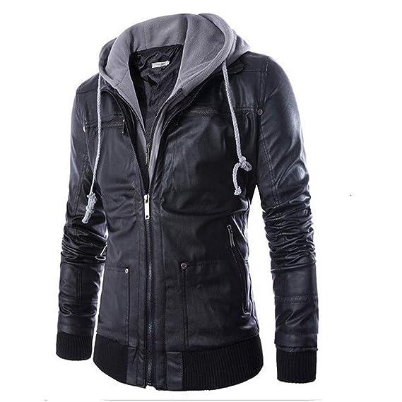 Sudadera para Hombre,Hombres Cuero otoño Invierno Chaqueta Motera Moto Cremallera de Vestir Abrigo Caliente